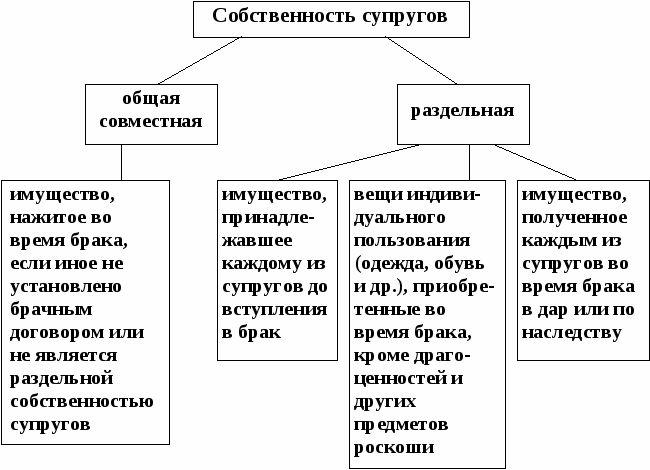Точные понятия общей совместной собственности и общей долевой собственности супругов приходилось