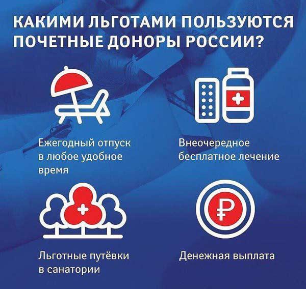 Почетный донор россии: льготы и выплаты в 2020 году
