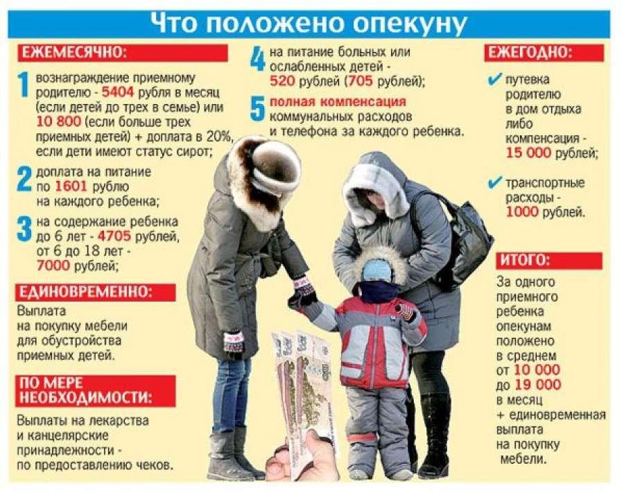 Сколько платят опекунам за ребенка в 2019 году в москве