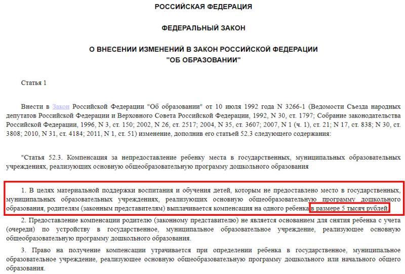Компенсация за непредоставление места в детском саду 2020 челябинск