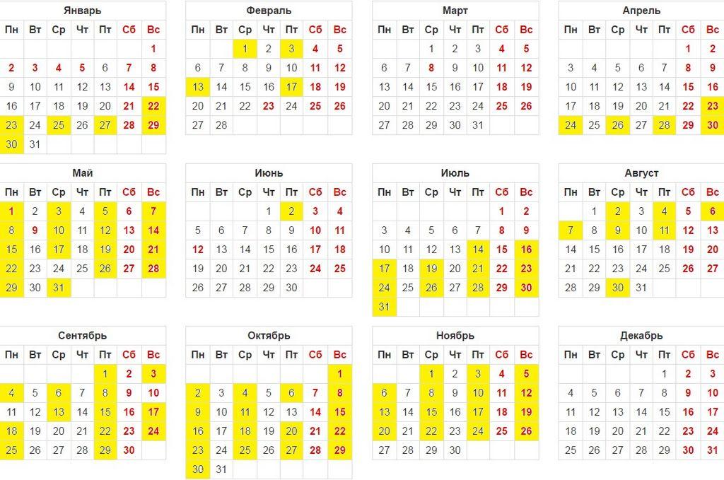 Календарь венчаний на 2017 год