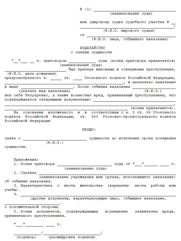 Погашение и снятие судимости в 2020 году
