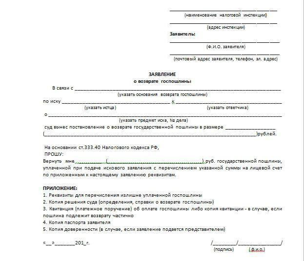 Порядок возврата или зачета государственной пошлины | министерство юстиции российской федерации