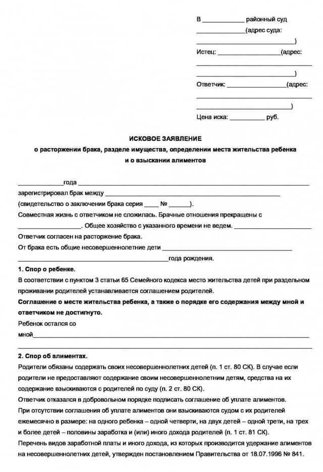 Заявление на развод через суд с детьми: образец 2020 г.