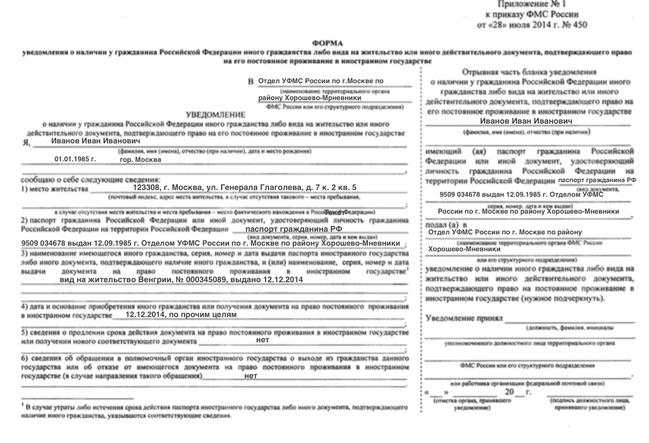 Уведомление о втором гражданстве: как заявить, содержание