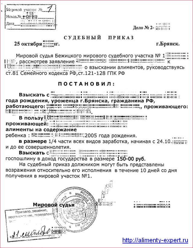 Возражение на судебный приказ о взыскании алиментов, образец