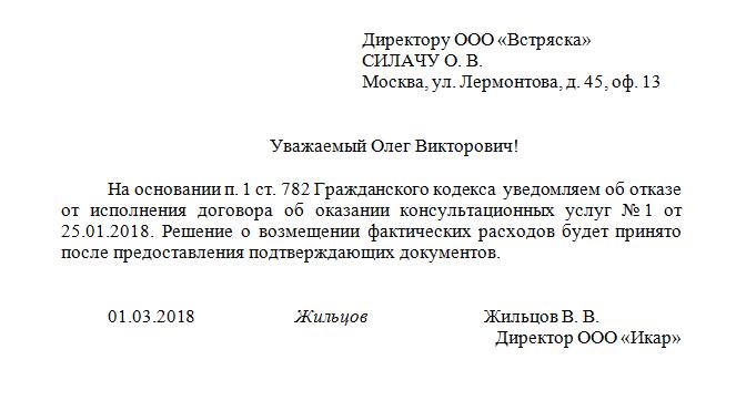 Заявление о расторжении договора оказания услуг в 2020 году
