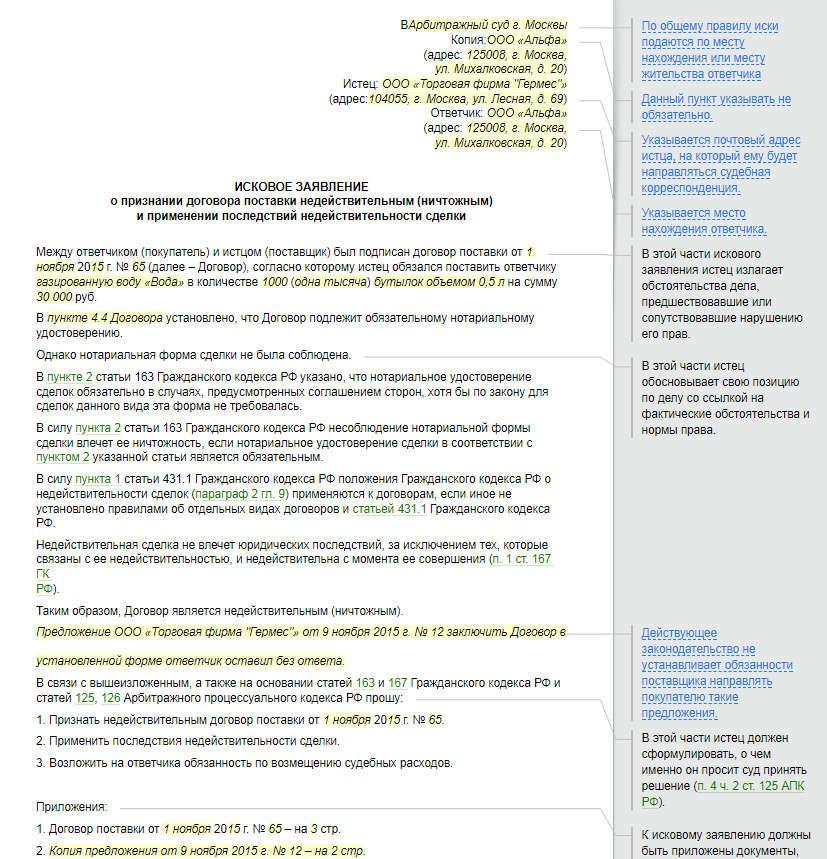 Условия и порядок признания договора недействительным