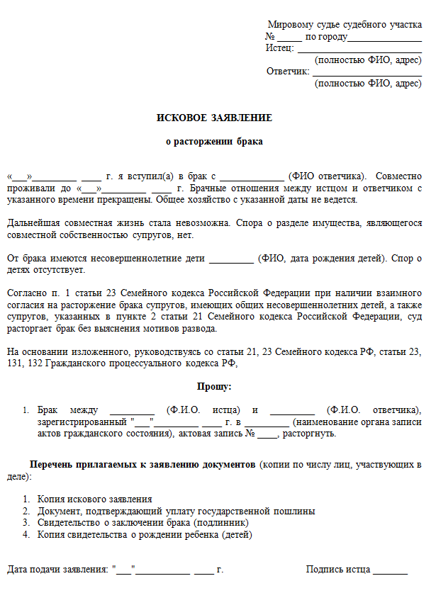 Составление заявления на развод в одностороннем порядке по образцу в 2020 году