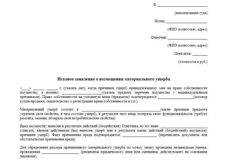 Соглашение о возмещении материального ущерба: образец